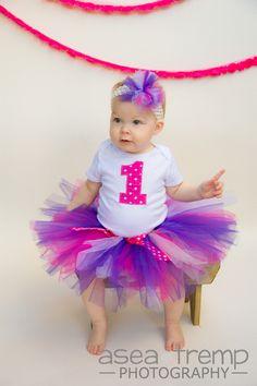 Cake Smash 1st Birthday Baby Girl Purple pink tutu