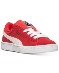 Puma Boys' Suede Jr. Casual Sneakers from Finish Line - RED/WHITE