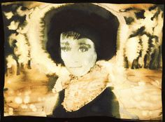 Black Fur Lashes: A4 Giclee Printed image on A3 of Audrey Hepburn in a Black fur hat by XrayBexArt
