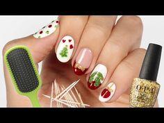 Video: 5 Christmas Nail Art Designs Using Household Items! Christmas Tree Nail Art, Cute Christmas Nails, Christmas Nail Art Designs, Holiday Nails, Nail Art Cute, Nail Art Diy, Easy Nail Art, Diy Nails, Easy Art