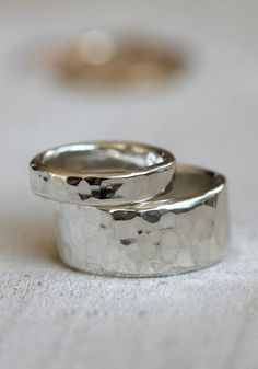 Wedding ring set sterling silver hammered rings on Etsy, ...