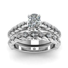 cushion-cut-diamond-wedding-ring-set-in-14K-white-gold-FD121970CU-NL-WG