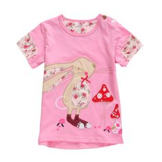 2015 New Little Maven Baby Girl Children Rabbit Rose Red Cotton Short Sleeve T-shirt Tee – Kiser Variety Shop