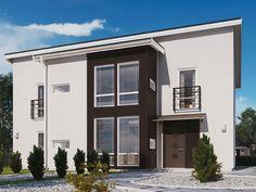 Allegro ett hus med plåttak och stora fönster. Gott om öppna ytor och en takhöjd på 5 meter.