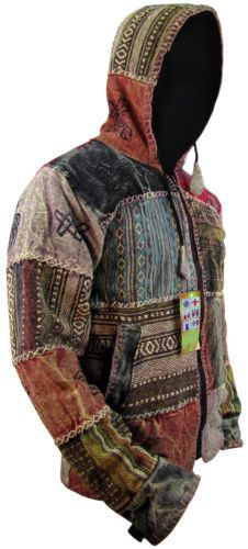 hippie boho vintage retro cotton symbols fleece lined jacket festival nepalese