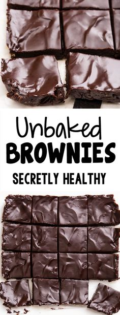 The Ultimate Unbaked Brownies Healthy Brownies, No Bake Brownies, Raw Vegan Brownies, Healthy Sweets, Healthy Baking, Healthy No Bake, Healthy Chocolate, Chocolate Recipes, Brownies Sains