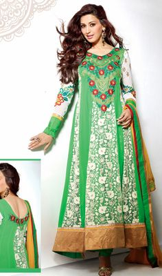 Sonali Bendre Lime Green Georgette Net Pakistani Suit Price: Usa Dollar $125, British UK Pound £74, Euro92, Canada CA$136 , Indian Rs6750.