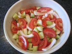 Marinated Tomato and Cucumber Salad ~ 4 lrg tomatoes, 2 cucumbers, 1 lrg onion, 1/2 cup olive oil,1/4 cup cider vinegar, 1 tbsp sugar, 1/2 tsp salt, 1/8 tsp oregano