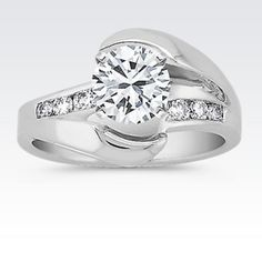 Swirl Diamond Engagement Ring with Channel Setting with Brilliant Round Diamond
