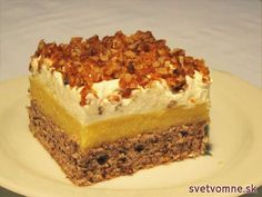 Pomarančový zákusok s orechmi v karameli Bakery Cakes, Food Cakes, Cake Recipes, Dessert Recipes, Pavlova, Cakes And More, Tray Bakes, Cake Cookies, Sweet Treats