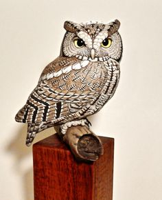 Eastern Screech Owl carving - Artwork by Tim McEachern.