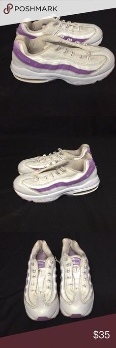 Purple and White 3y Girls Bike Air Max. Purple and White with signs of wear on shoes and bottoms. Shoes and bottoms is in good condition. Laces was damaged. Nike Air Max Shoes Sneakers