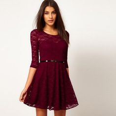 STACEY LACE SKATER DRESS  This classic lace skater dress in the gorgeous autumnal shade of burgundy is perfect for work with tights and a cosy cardigan #lace #skater #dress #burgundy
