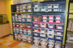 Makerspace organization - Mrs. J in the Library's note: an excellent blog post on how to organize supplies when you have just shelves to work with, like many libraries do.