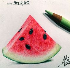 water melon color pencil drawing by adampadilla http://webneel.com/25-beautiful-color-pencil-drawings-valentina-zou-and-drawing-tips-beginners | Design Inspiration http://webneel.com | Follow us www.pinterest.com/webneel                                                                                                                                                                                 More