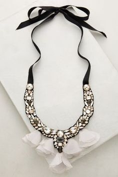 Midnight Tulle Bib Necklace | Anthropologie