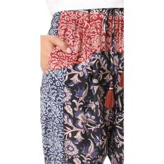 Sea Mix Print Pants ($165) ❤ liked on Polyvore featuring pants, drawstring pants, print pants, cropped trousers, slouchy pants and patterned trousers