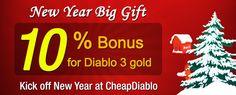 Enjoy Free Extra 10% Bonus for Diablo 3 Gold – Happy New Year