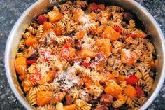 Pasta with butternut squash and chicken sausage...