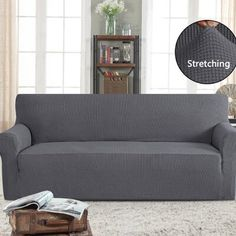 Symple Stuff Stretch Box Cushion Sofa Slipcover Colour: Grey, Size: H x W x D Grey Couch Covers, Best Couch Covers, Couch Cushion Covers, Box Cushion, Cushions On Sofa, Armchair Slipcover, Dining Chair Slipcovers, Big Couch, Furniture Covers