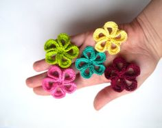Crochet Flower Appliques set of 16 handmade by IreneStitches