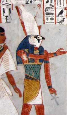 Horus, sky god. contained sun and moon - right eye was sun, left eye moon, they crossed the sky when he flew across it as a falcon