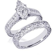 Marquise diamond vintage wedding set- Beautiful