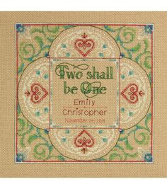 "Two As One Wedding Record Counted Cross Stitch Kit-10""X10"" 14 Count, , hi-res"