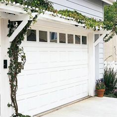 Garage Door Pergola - Compact and simple, this garage door pergola is an affordable weekend project and an easy way to dress up a garage.    Two matching assemblies of horizontal girders (basically short projecting beams) and knee braces support a pair of long crossbeams, which are topped by a series of short 2x2 rungs, creating the appearance of a horizontal ladder.