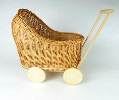 Wiklibox natural wicker & wood doll stroller in ECRU (creamy) color. Dolls Prams, Bassinet, New Fashion, Wicker, Little Girls, Ebay, Unique Jewelry, Handmade Gifts, Vintage