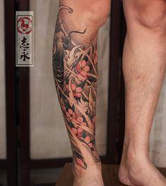 Calf Sleeve Tattoo, Asian Tattoo Sleeve, Calf Tattoo, Tattoo On, Full Sleeve Tattoos, Tattoo Sleeve Designs, Ankle Band Tattoo, Knee Tattoo, Leg Tattoo Men