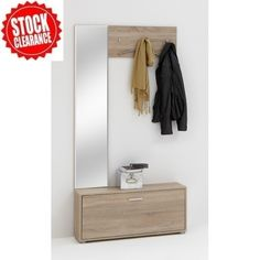 Paola Hallway Stand In Canadian Oak   £99.95 shoe storage cabinet oak,Hallway Stand can offer additional storage space for your household things • Features long vertical mirror that is just ideal for dressing up in front of • Matchless Canadian Oak finish will give a touch of class to your space • Three sleek Metal finished hooks for hanging your clothes • Also, one wide drawer with elegant metal finished pull handle that can serve heaps of storage space for your shoes W95 X H193 X D26CM