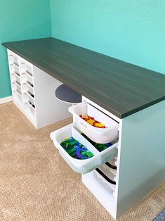 Kids Table With Storage, Table Storage, Storage Bins, Diy Storage, Lego Storage Drawers, Storage Spaces, Lego Table Ikea, Lego Desk, Ikea Trofast Bins