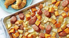 """We're """"fall""""ing for this sheet-pan meal, and we think you will, too! Hearty chicken sausage, roasted sweet potatoes, apples and onion make this weeknight dinner so easy One Dish Dinners, Dump Dinners, One Pot Meals, Easy Dinners, Main Meals, Quick Meals, Sheet Pan Suppers, Pillsbury Recipes, Fall Vegetables"""