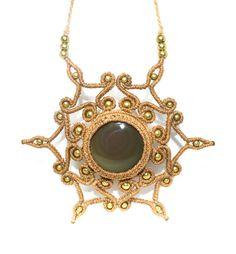 Collar en Macrame Obsidiana Arcoiris y Bronce, Piedra Semipreciosa, Joyería, Hippie, Mujer, Macrame Necklace, Joyería Macrame, Macrame.