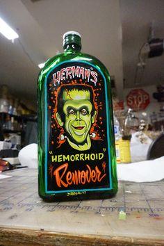 Hand painted Garage Art Herman's Hemorrhiod