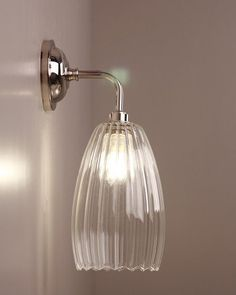 Clear Ribbed Glass Bathroom Wall Light, Upton Retro & Contemporary Design (Ip44 Rated)