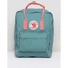 Fjallraven Classic Kanken Backpack in Green with Contrast Pink (1.480.900 IDR) ❤ liked on Polyvore featuring bags, backpacks, day pack backpack, green rucksack, pink rucksack, logo backpack and pink backpack