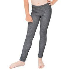 Stretch is Comfort Girl's Cotton Footless Leggings Denim Black Large