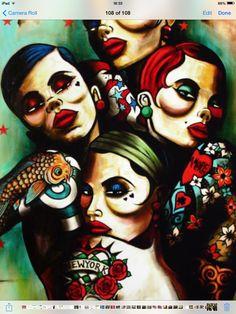 'Manhatten Showgirls' From Terry Bradley Epic Art, Amazing Art, Quirky Art, Smart Art, Cool Art, Street Art, Art Gallery, Artsy, Sketches