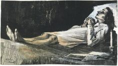 Van Gogh - Vincent van Gogh's Woman on her Deathbed Watercolor   483Kaydet  Vincent van Gogh Watercolor, Black chalk, pencil, washed, watercolour, heightened with white The Hague: April - late in month, 1883