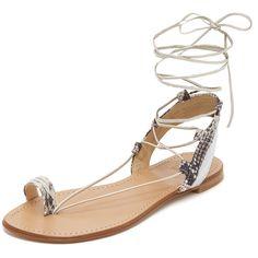 Stuart Weitzman Lasso Flat Sandals featuring polyvore women's fashion shoes sandals pearl lace-up sandals tie sandals leather sole sandals stuart weitzman sandals flat toe ring sandals