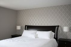 Stenciled Accent wall in bedroom (from Each New Day: Grey Master Bedroom Stencilled Accent Wall)