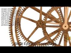 William Strutt designed his epicyclical geared clock in the late and his friend William Wigston built it. Because of the difficulties involved in maki. Wooden Gear Clock, Wooden Gears, Wood Clocks, Mechanical Clock, Cnc Wood, Kinetic Art, Wooden Watch, Time Travel, Woodworking
