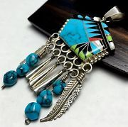 Vtg LARGE STERLING Silver Native NAVAJO W.PADILLA Turquoise INLAY Pendant *18.5g