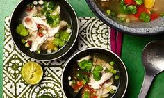 Photograph of Thomasina Miers' chicken poached in fragrant broth