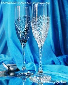 Champagne glasses-Wedding Toast Glasses Bride And by WeddingbyAnn