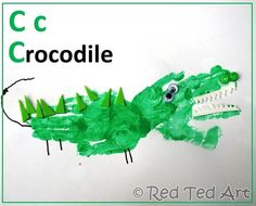 C is for Crocodile...made from handprints