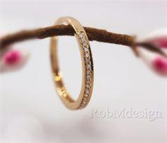 14k Rose Gold Milgrain Pave Diamond Ring Half by RobMdesign