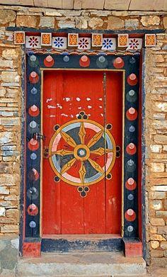 Ornate door, in Bhutan Cool Doors, Unique Doors, The Doors, Entrance Doors, Doorway, Windows And Doors, Front Doors, Bhutan, Doors Galore